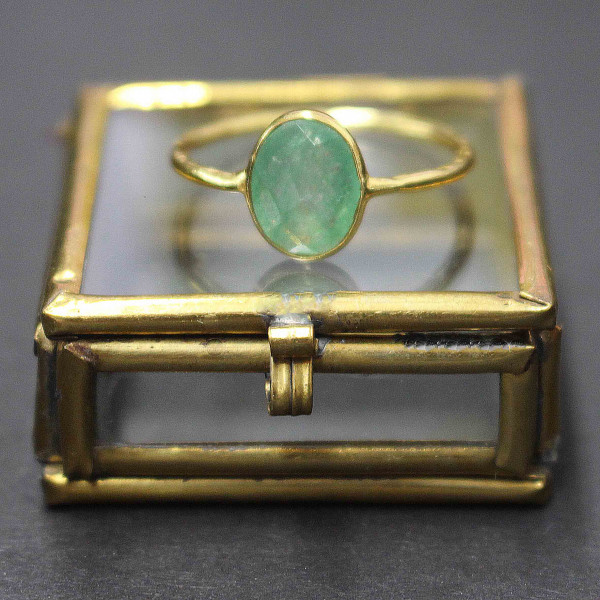 Pastellgrüne Sky - Ring gold