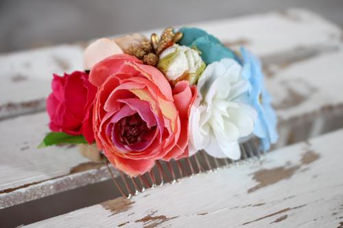 Freche Frieda - Haarspange mit blauen und pinken Blumen